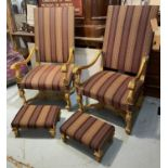 FAUTEUILS, a pair, Louis XIV style with elaborate carved giltwood show frames, shaped supports and