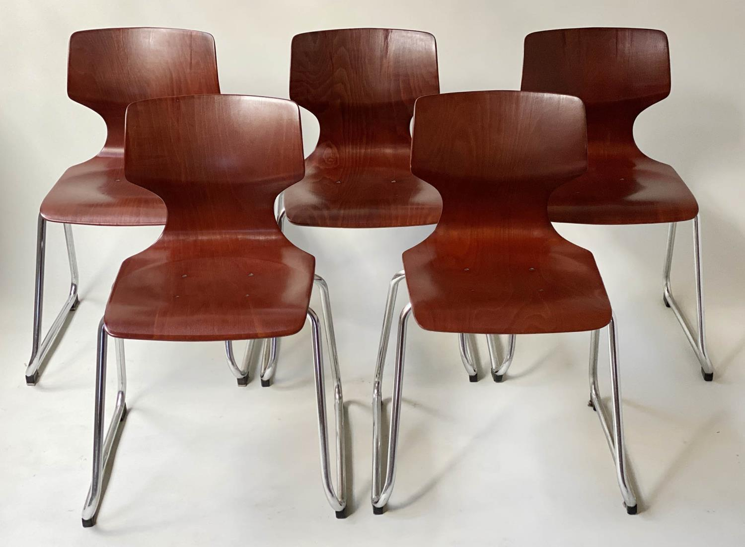 FLOTOTTO PAGHOLZ DINING CHAIRS, a set of five, by Elmar Flototto, 78cm H. (5)