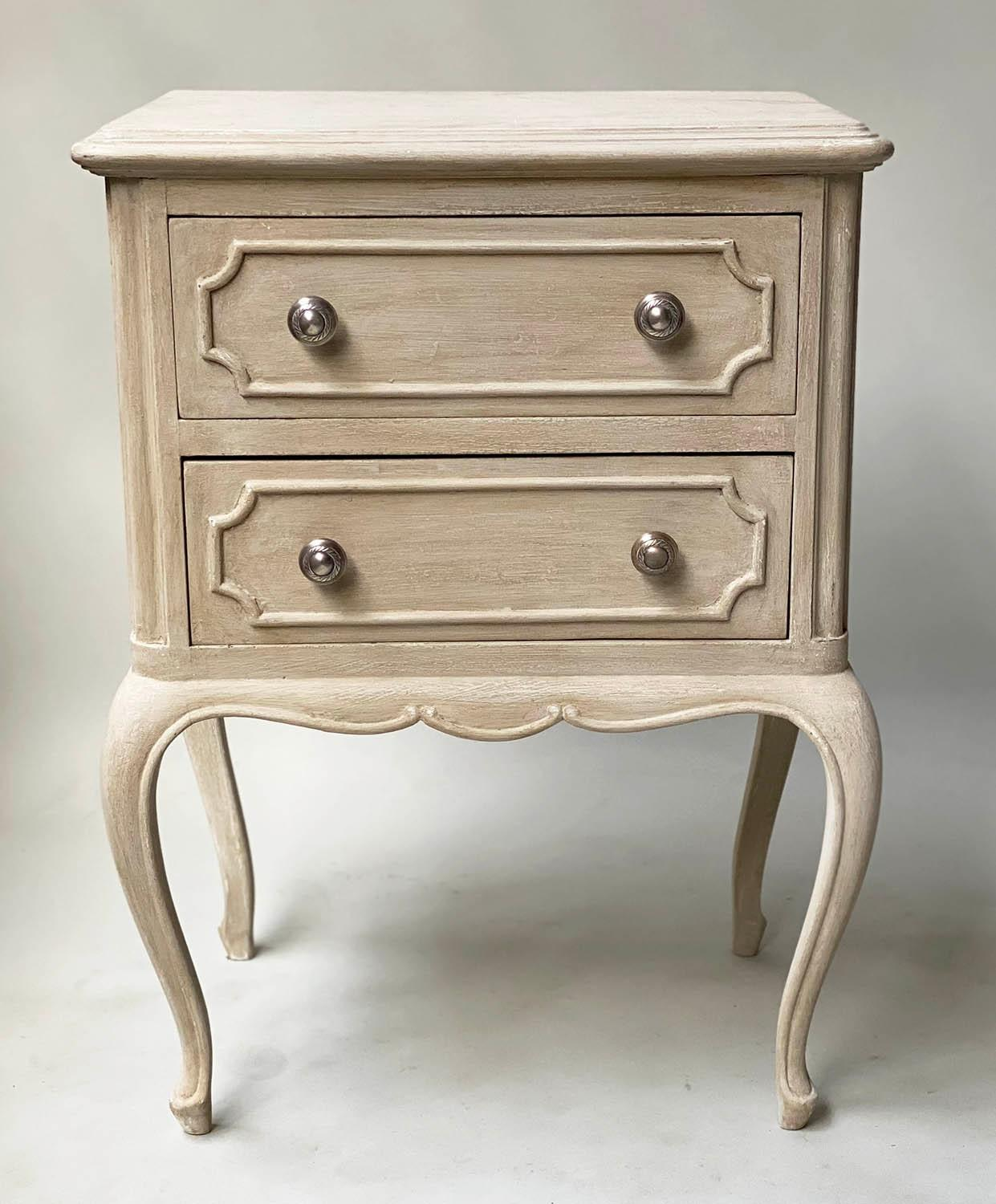 BEDSIDE CHESTS, a pair, French Louis XV design grey painted each with two drawers, 48cm x 36cm x - Image 3 of 5