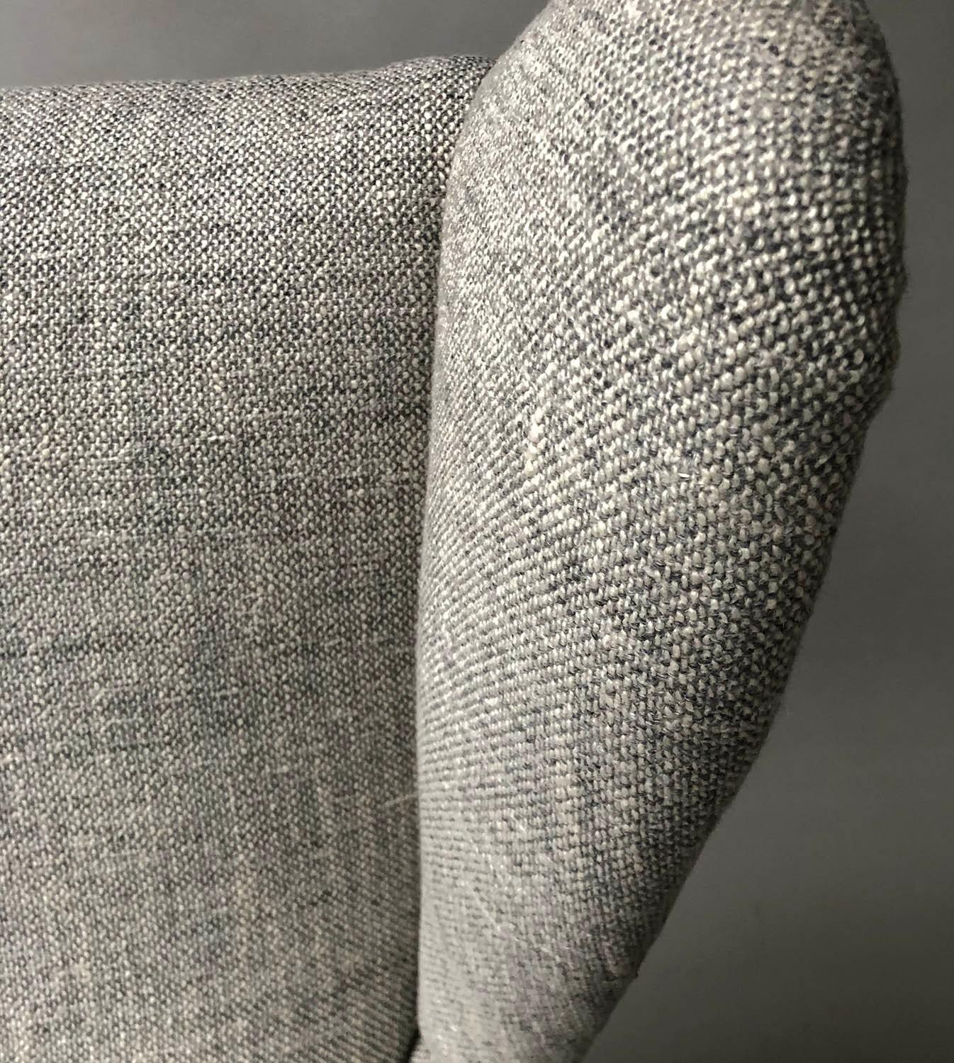 HOWARD KEITH ARMCHAIR, 1950's lounge chair newly upholstered in oatmeal soft tweed with splay - Image 3 of 5
