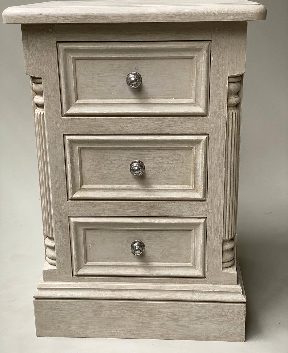 BEDSIDE CHESTS, a pair, French style grey painted, each with three drawers, 49cm x 47cm x 76cm H. ( - Image 2 of 7
