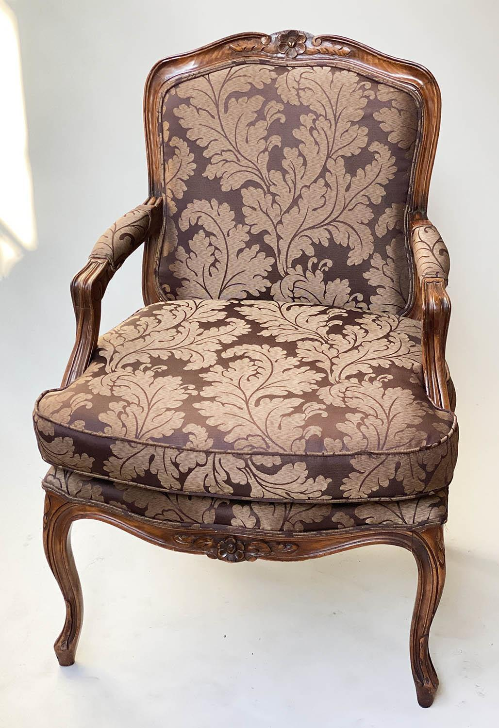 FAUTEUILS, a pair, French Louis XV style, stained walnut, with two tone brown leaf silk - Image 7 of 9