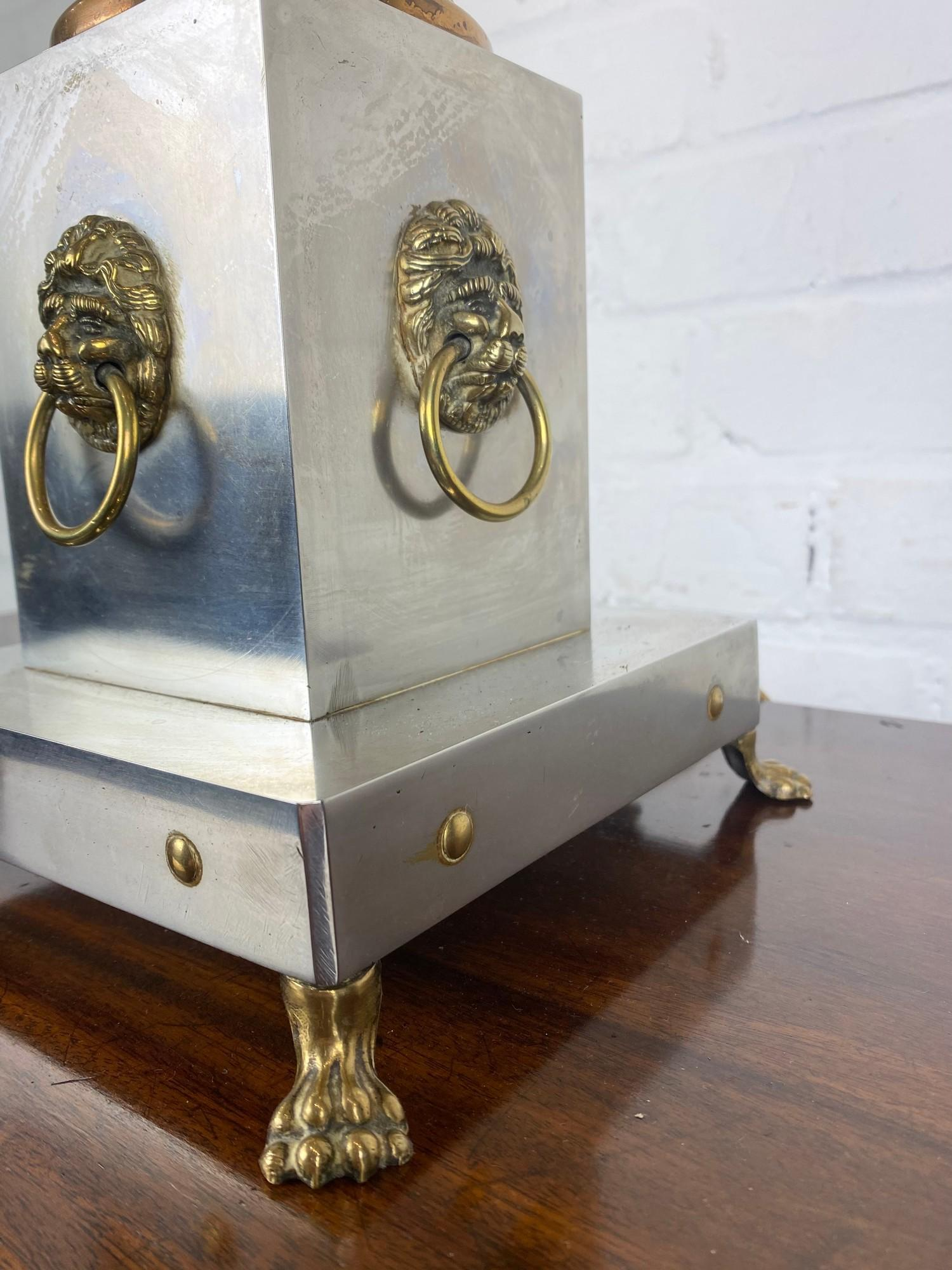 COLUMN HALL LAMP, early 20th century English silver plate, copper and brass four branch, with lion - Image 5 of 8