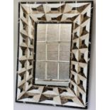 WALL MIRROR, trompe l'oeil variegated marble rectangular with bevelled plate, 74cm x 101cm H.