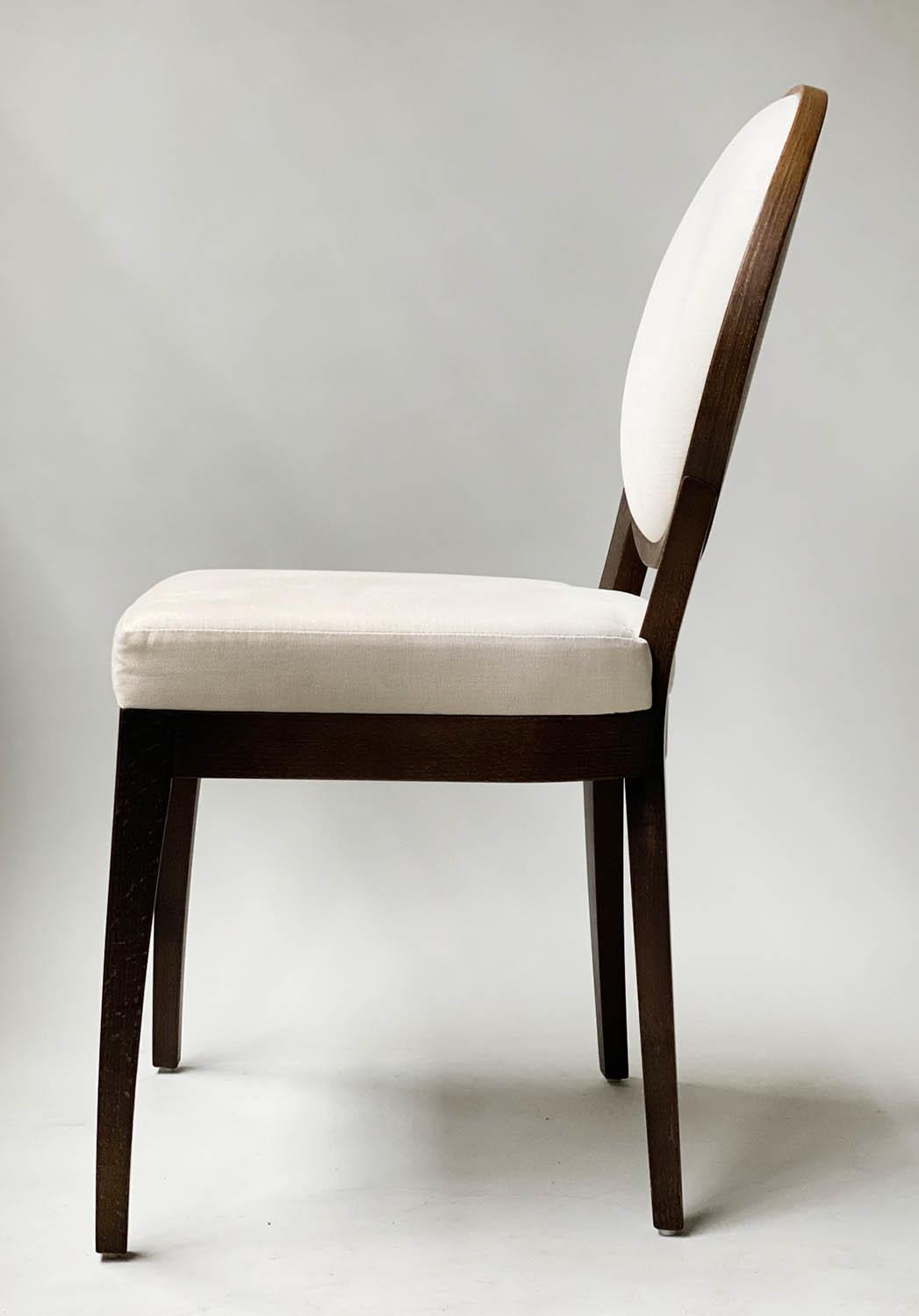 BEDROOM CHAIRS, a pair, contemporary white cotton oval with oak veneered frames, 50cm W. (2) - Image 3 of 9
