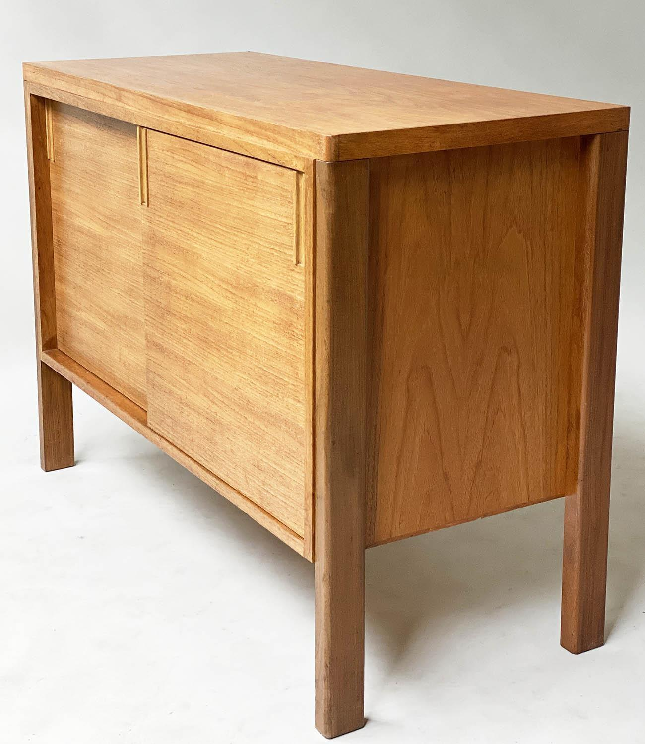 GORDON RUSSELL SIDEBOARD, 1960's walnut with two sliding doors enclosing shelves stamped Gordon - Image 8 of 8