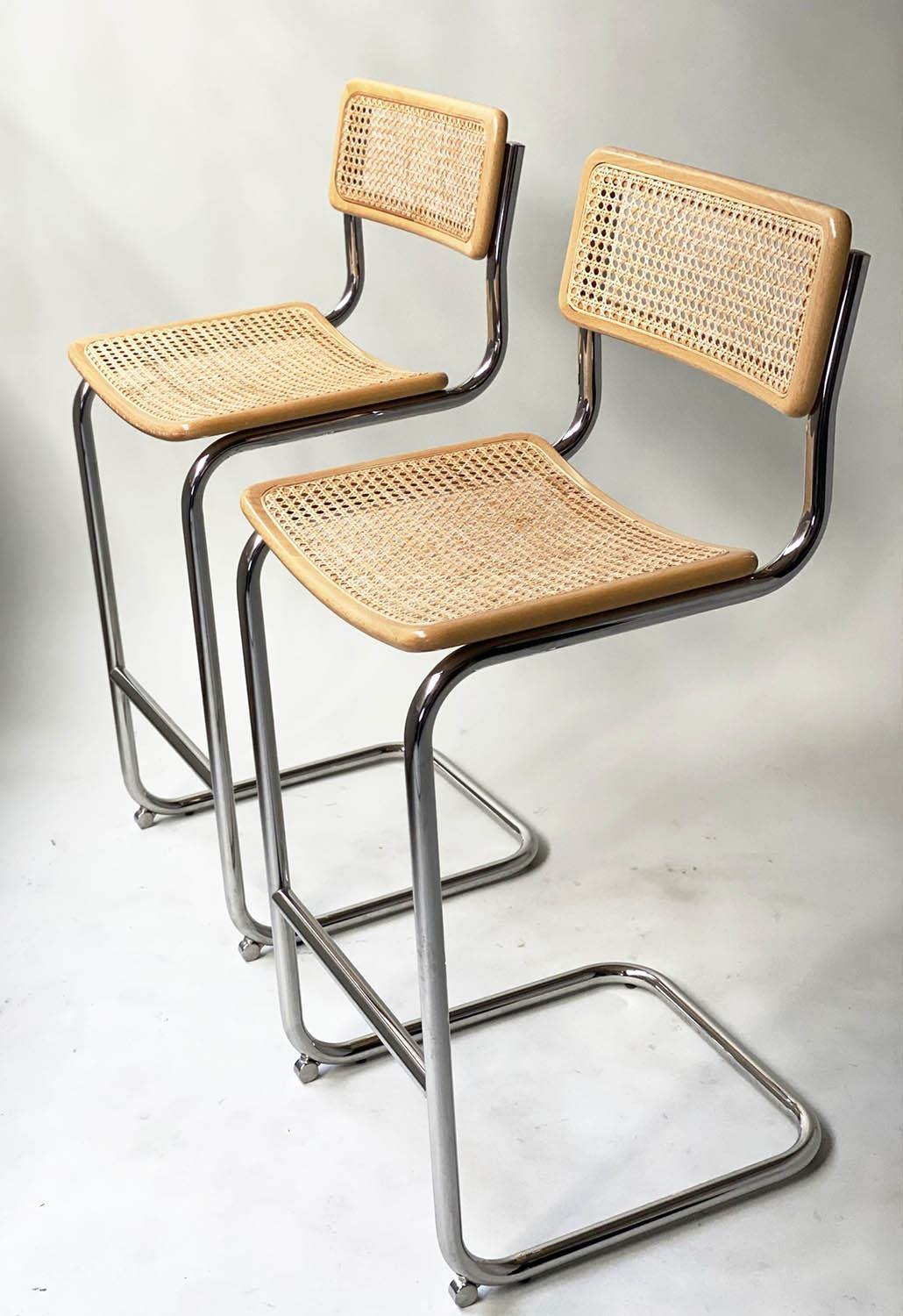 MARCEL BREUER INSPIRED BAR CHAIRS, a pair, Cesca style design, beechwood, cane panelled and chrome - Image 3 of 7