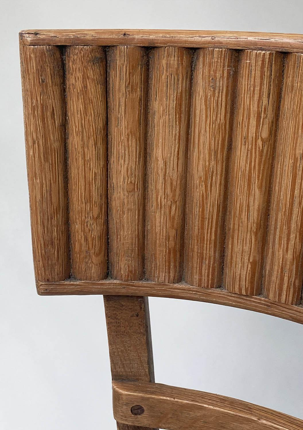 DINING CHAIRS, a set of four oak with ridged bar back and tweed seats. (4) - Image 4 of 5