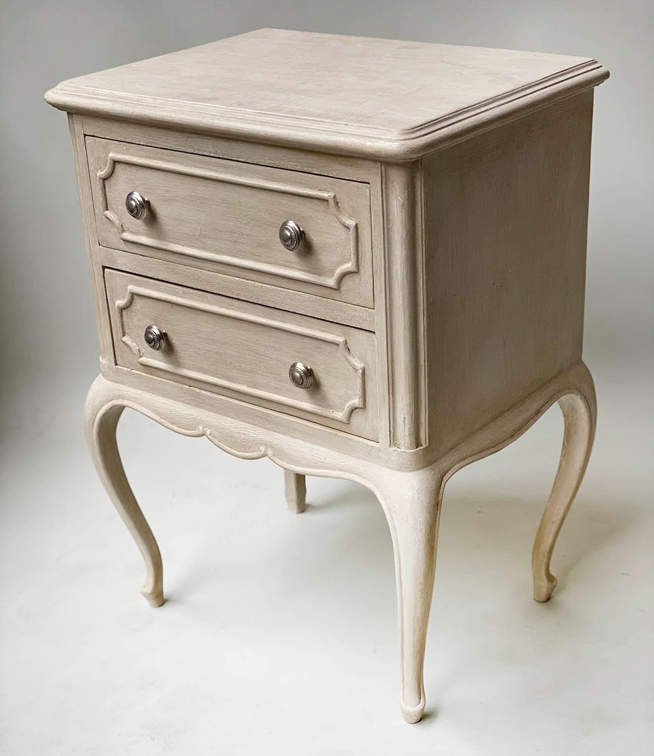 BEDSIDE CHESTS, a pair, French Louis XV design grey painted each with two drawers, 48cm x 36cm x - Image 2 of 5