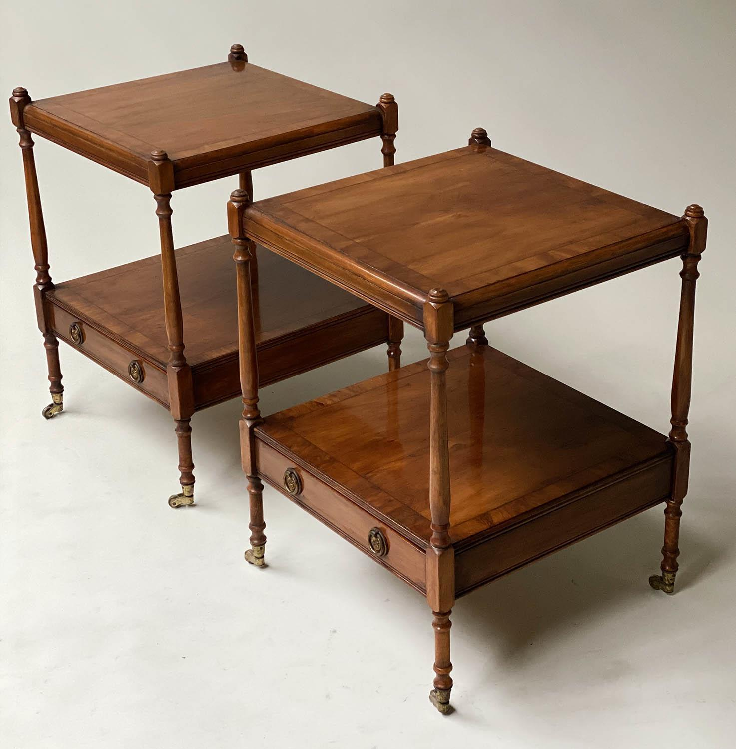 LAMP TABLES, a pair, George III style yewwood of two tiers, each with drawer, 45cm x 45cm x 60cm - Image 3 of 6
