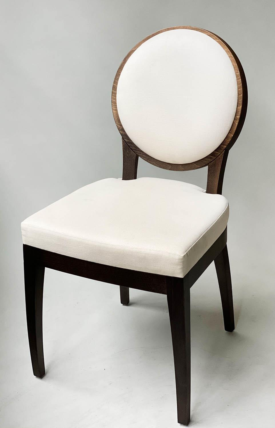 BEDROOM CHAIRS, a pair, contemporary white cotton oval with oak veneered frames, 50cm W. (2) - Image 8 of 9