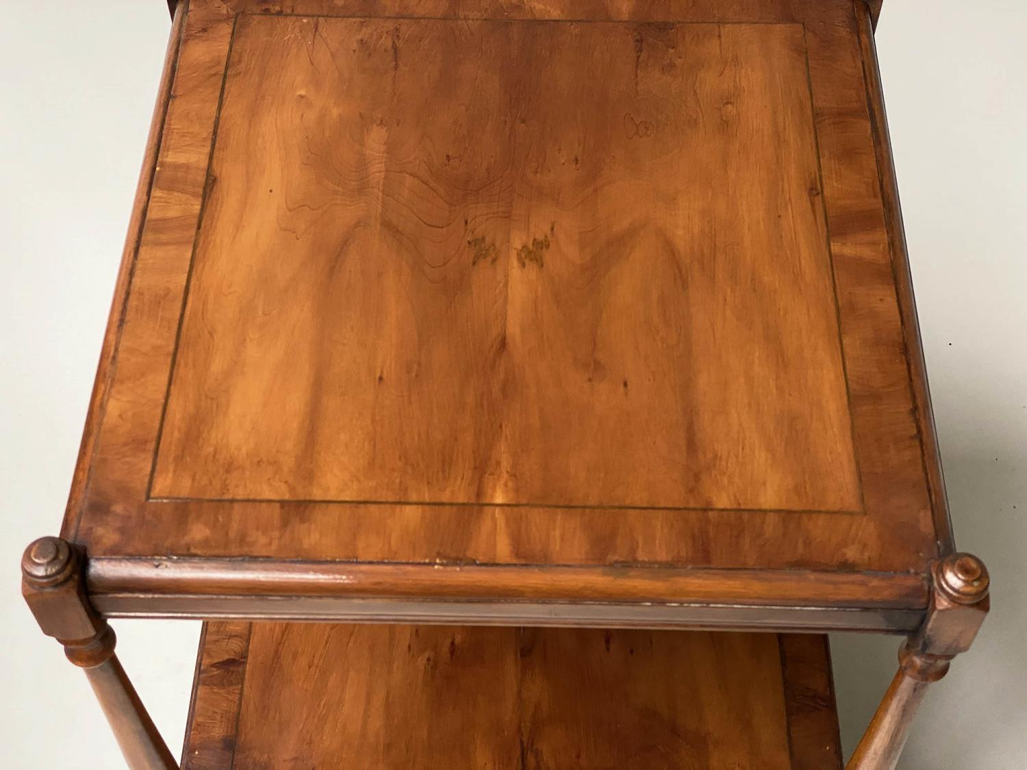LAMP TABLES, a pair, George III style yewwood of two tiers, each with drawer, 45cm x 45cm x 60cm - Image 5 of 6