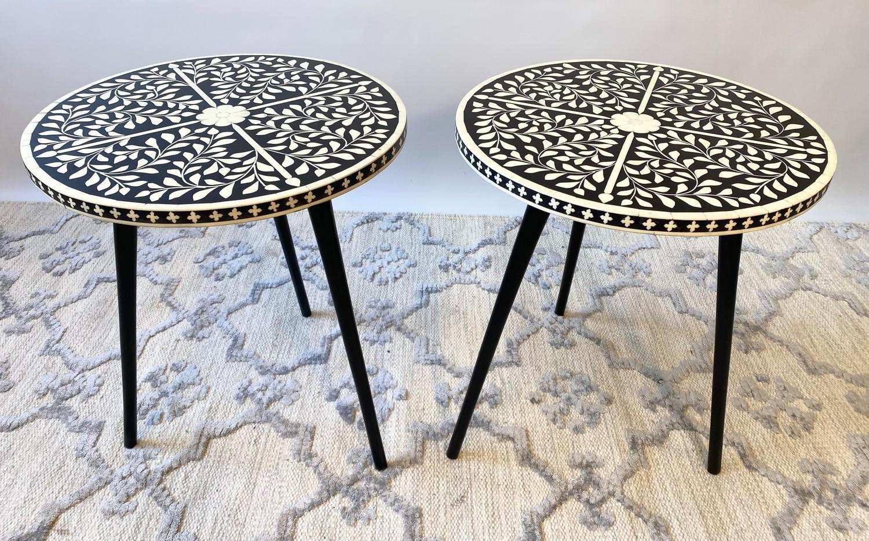 LAMP TABLES, a pair, Moorish design inlaid tops on tripod metal legs, 47cm H x 41cm x 41cm. (2) - Image 4 of 5