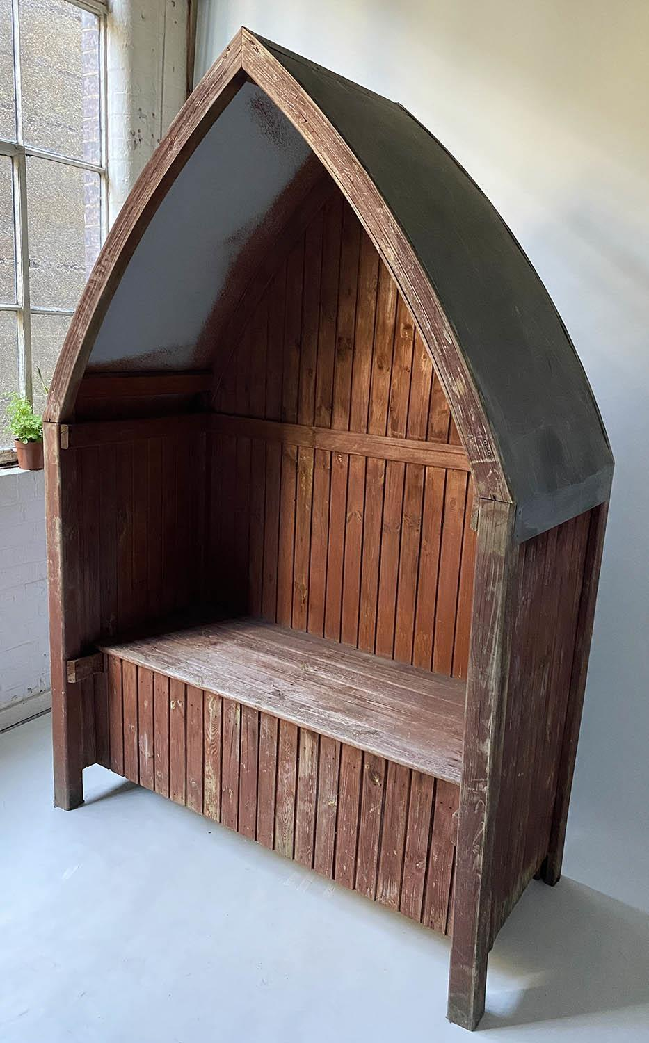 GAZEBO, vintage boarded with rising seat and arched galvanised roof, 140cm x 67cm x 209cm H.