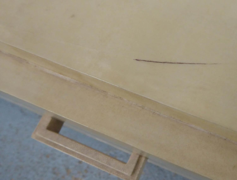 SIDEBOARD, contemporary parchment finish, faux shagreen handles, 150cm x 42cm x 85cm. - Image 5 of 6