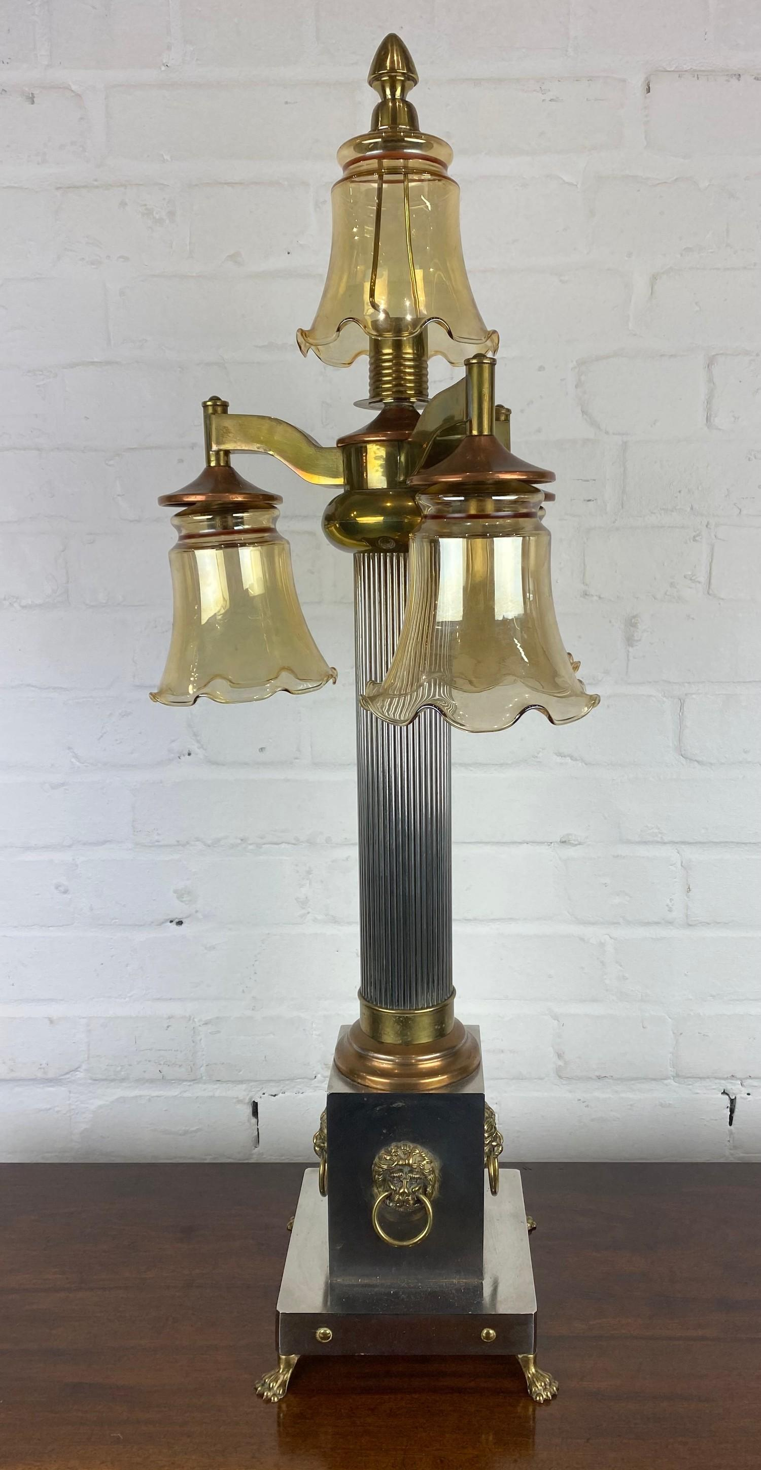 COLUMN HALL LAMP, early 20th century English silver plate, copper and brass four branch, with lion