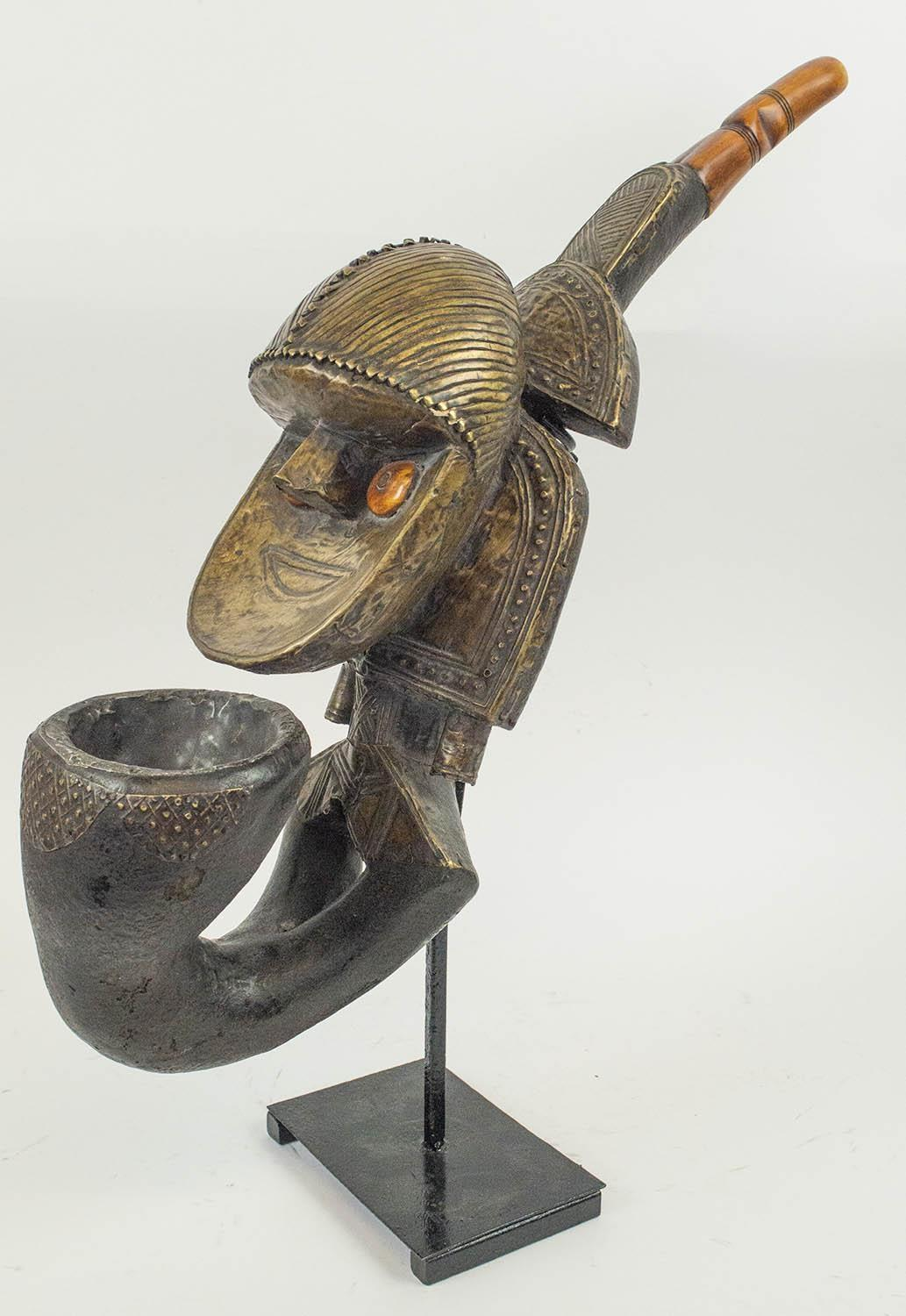 KOBA PEOPLE'S PIPE, from Gabon, copper and carved wood, 55cm H. - Image 2 of 4