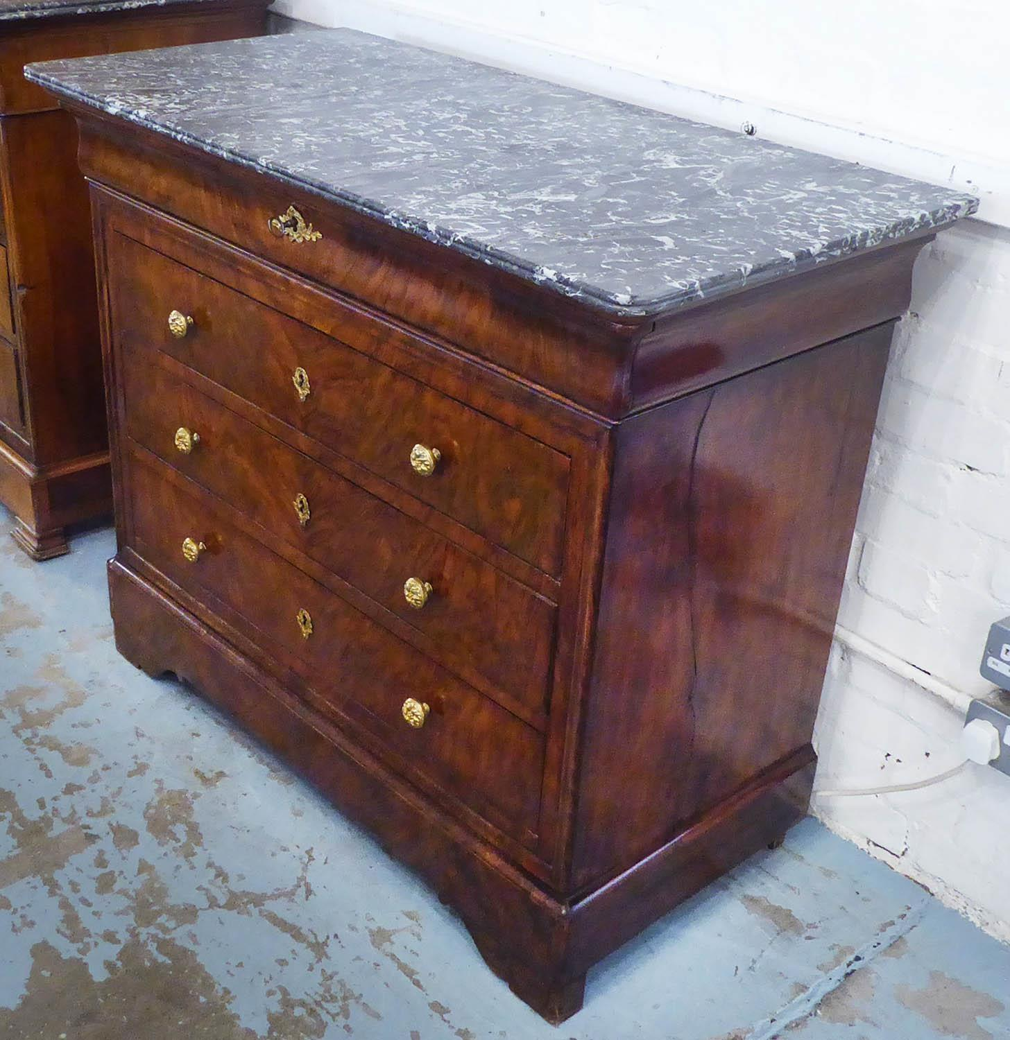 COMMODE, Louis Philippe walnut, the grey marble top over a frieze drawer and three others, 114cm x