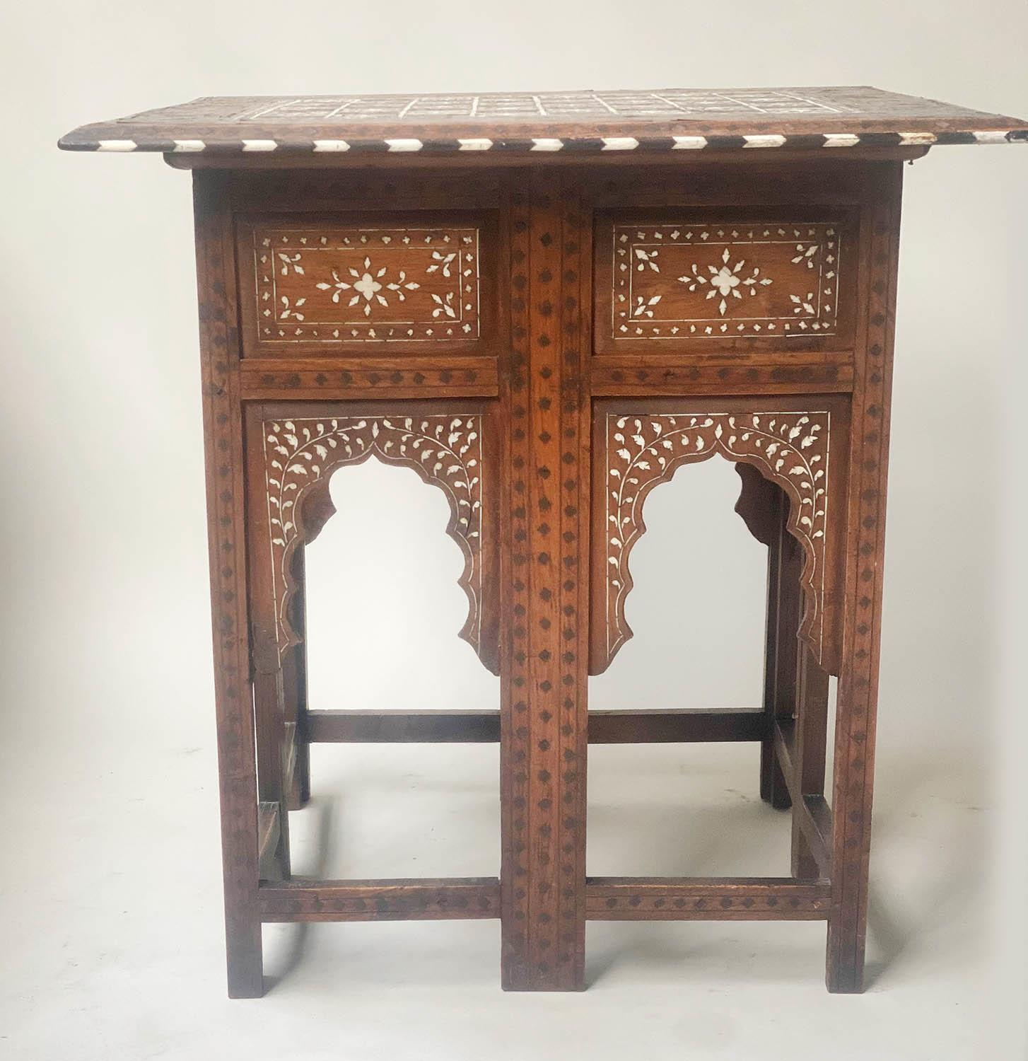 LAMP TABLE, Early 20th century Syrian square hardwood and ebony inlaid with conforming arched - Image 2 of 5
