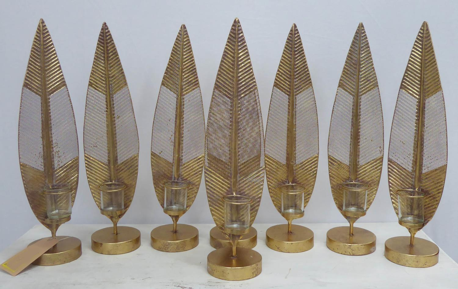 CANDLE LANTERNS, a set of eight, foliate design, glass inserts, 59cm H. (8)