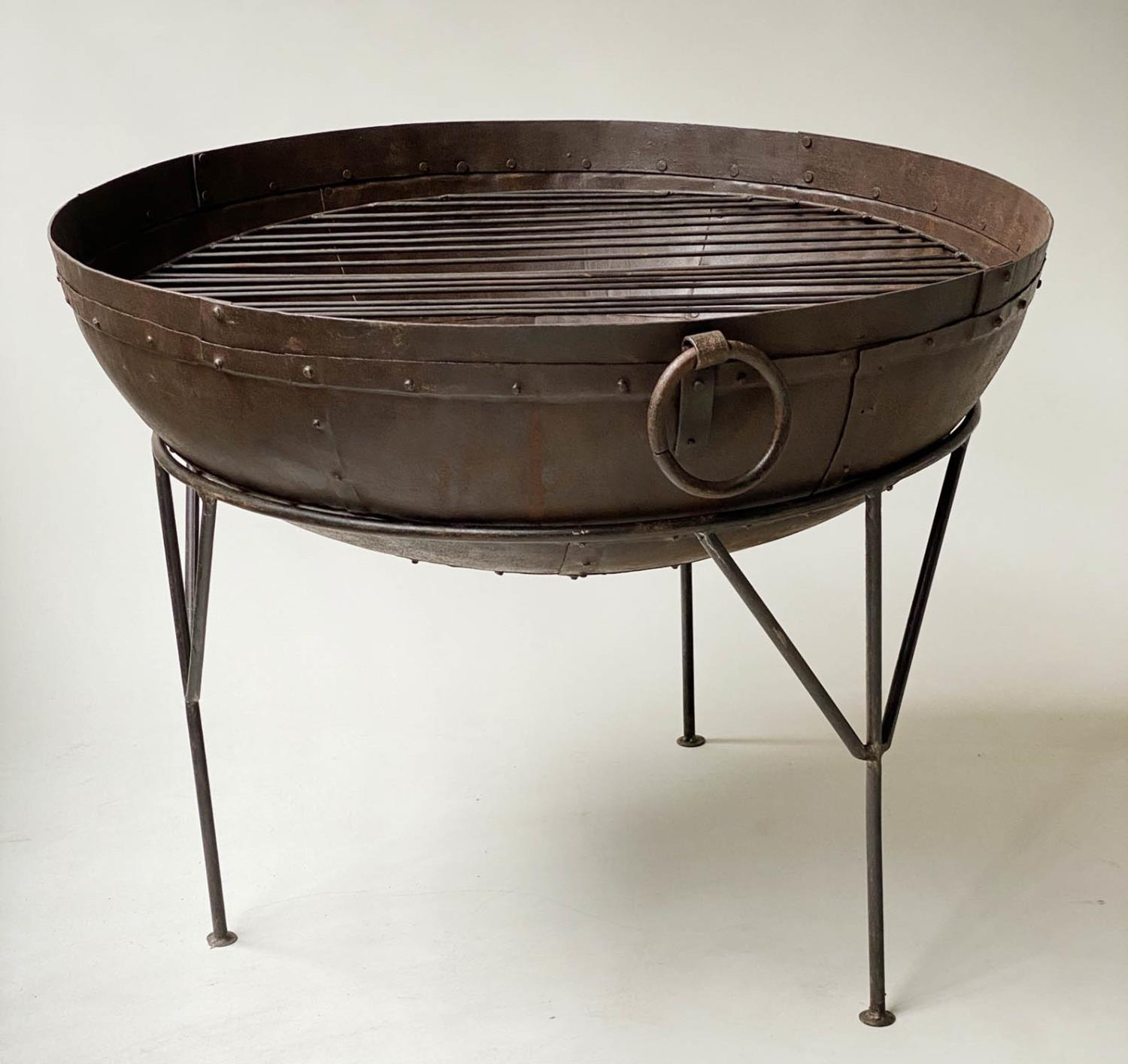 FIREPIT, riveted bowl form with grill and wrought iron stand, 84cm x 65cm H. - Image 3 of 5