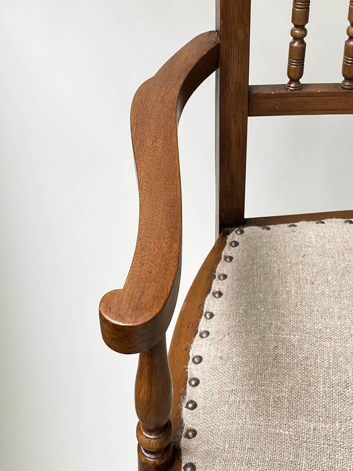 HALL BENCH, early 20th century English studded upholstered seat and turned back and supports, - Image 5 of 6