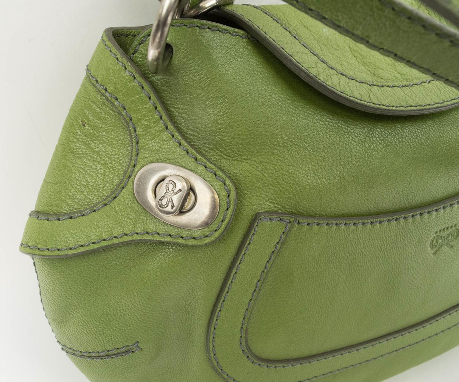 ANYA HINDMARCH SHOULDER BAG, leather with contrasting stitching, gun metal hardware, double top - Image 2 of 8