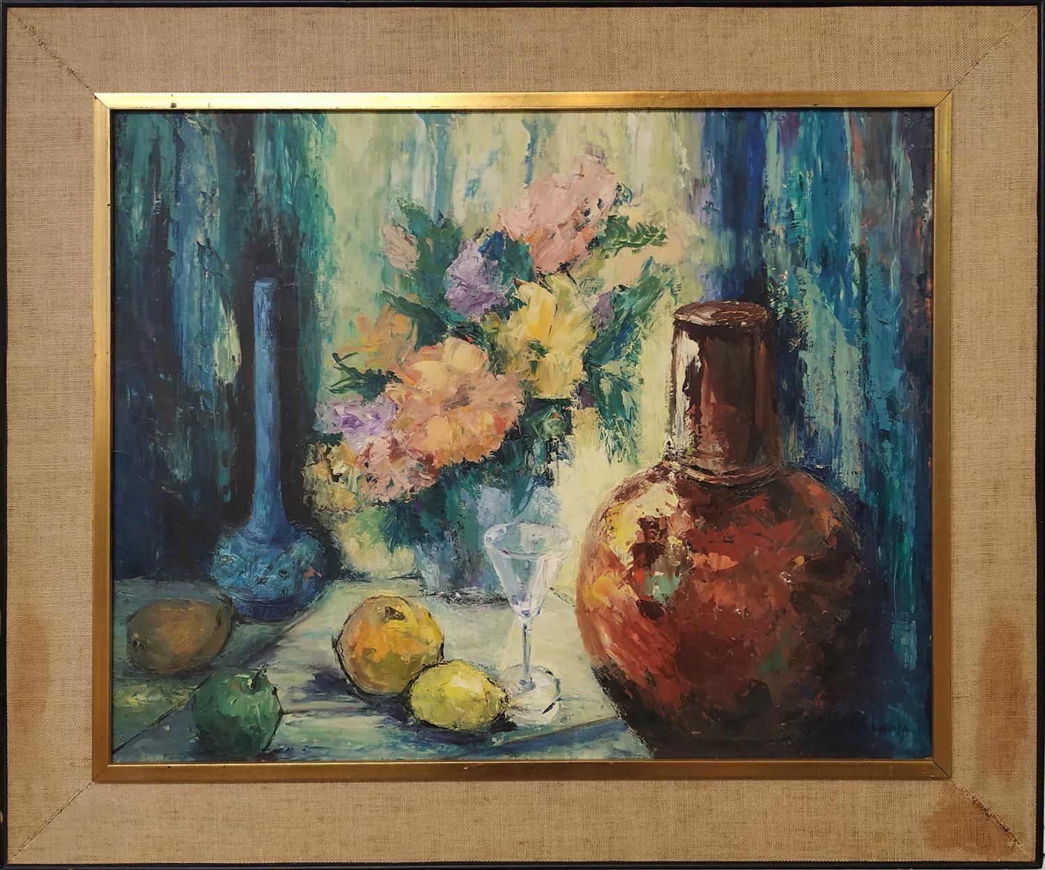 VAUGHAN (20th century) 'Still Life with Lemons and Jug', oil on board, signed and framed, 59cm x