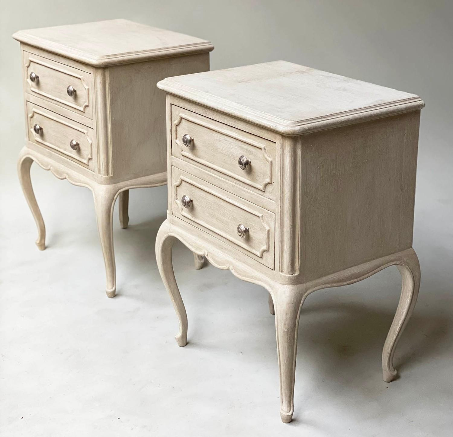 BEDSIDE CHESTS, a pair, French Louis XV design grey painted each with two drawers, 48cm x 36cm x - Image 5 of 5
