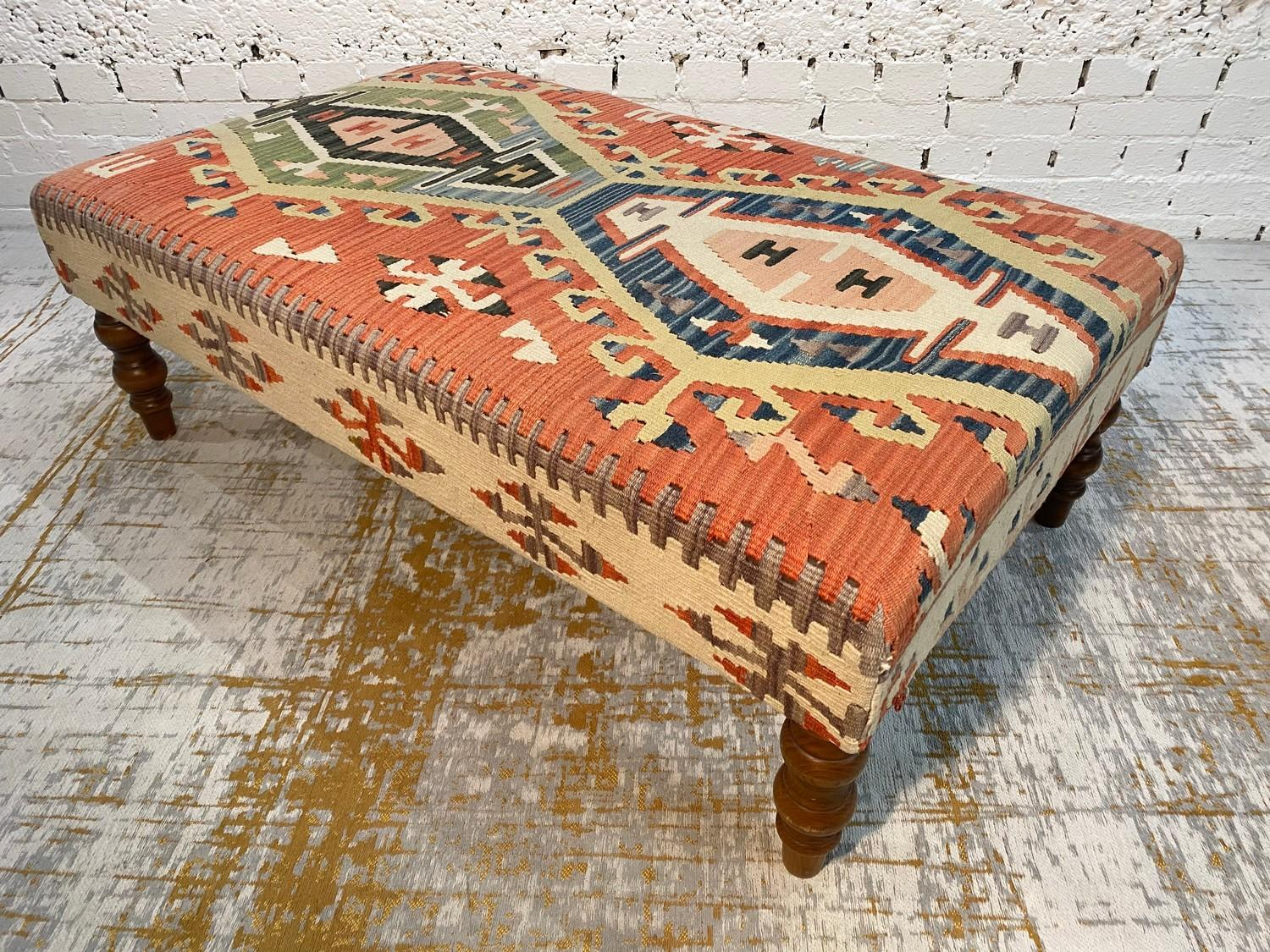 KILIM HEARTH STOOL, George Smith style, raised on turned supports, 40cm H x 120cm x 70cm.