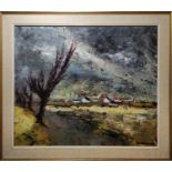 MONELL MEYERS (20th Century Luxembourg) 'Landscape with Cottages by a River', oil on canvas, 50cm