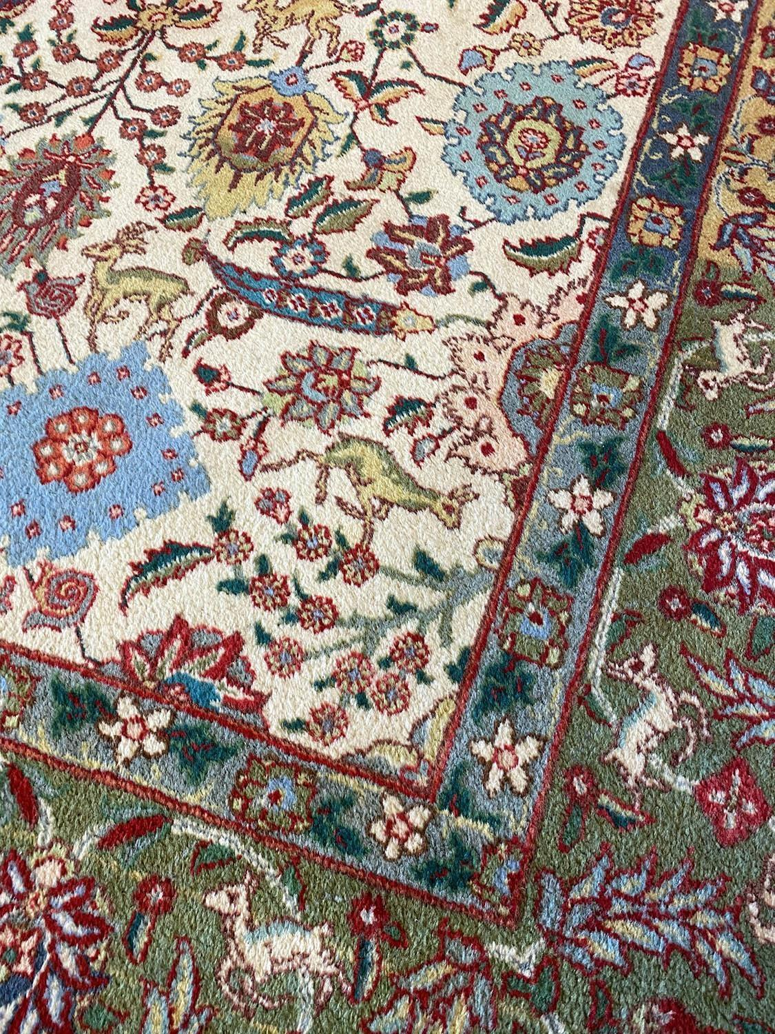 FINE PERSIAN TABRIZ CARPET, 387cm x 288cm, all over palmette and vine design with deer motifs within - Image 3 of 5