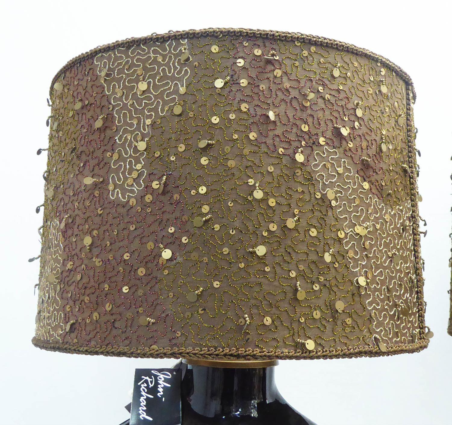 JOHN RICHARD COPPER GLASS TABLE LAMPS, a pair, with beaded shades, 65cm H. (2) - Image 2 of 5