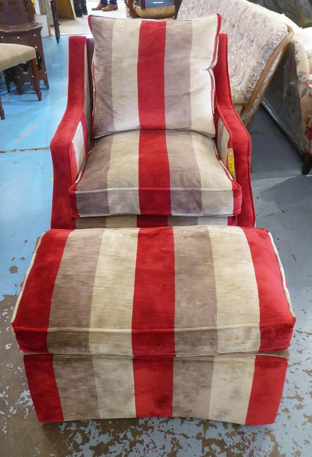 DAVID SEYFRIED ARMCHAIR, with red, beige and brown striped upholstery, 81cm W x 85cm H and a - Image 2 of 4