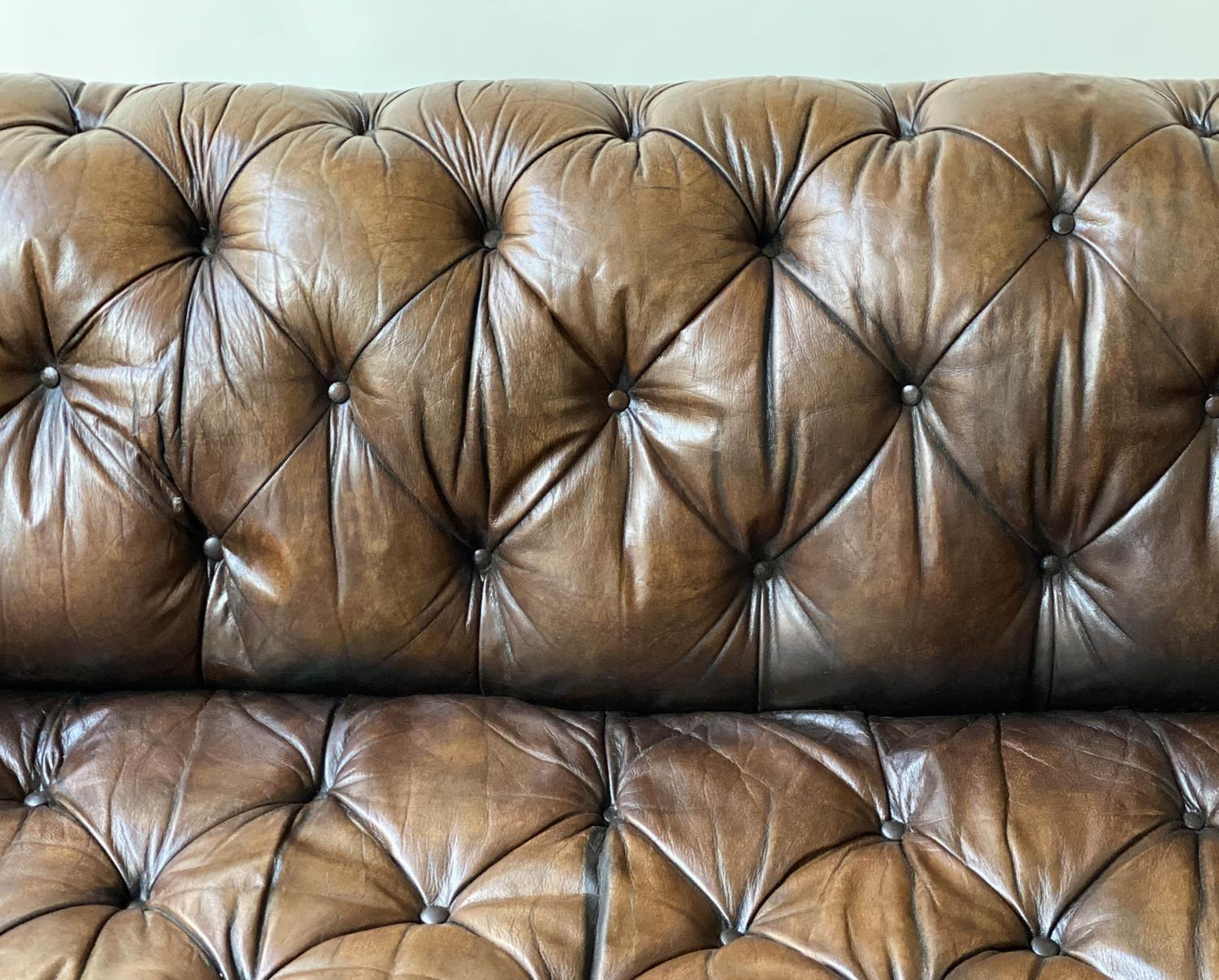 CHESTERFIELD SOFA, early 20th century Edwardian aged and faded brown leather with horsehair buttoned - Image 10 of 10