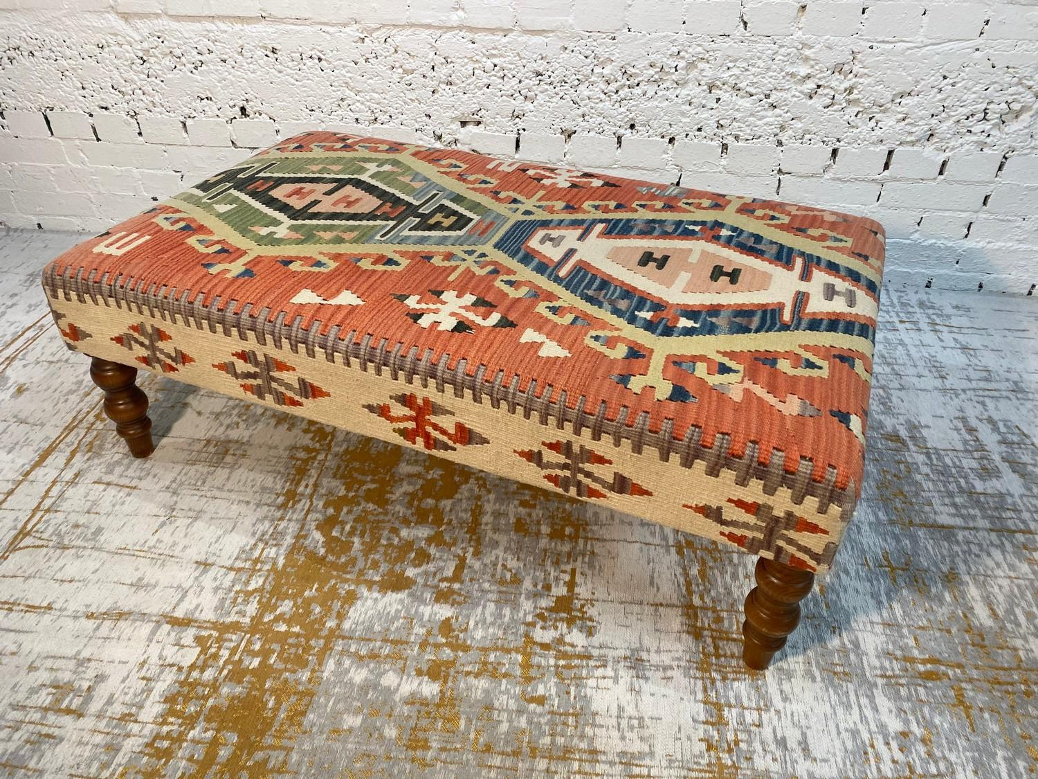 KILIM HEARTH STOOL, George Smith style, raised on turned supports, 40cm H x 120cm x 70cm. - Image 2 of 4