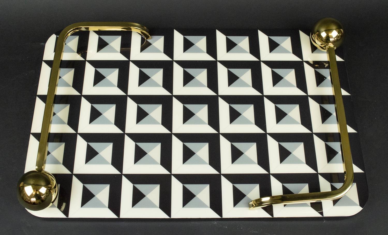 1950's ITALIAN STYLE TRAY, gilt handle detail, 45cm x 29cm x 7cm.