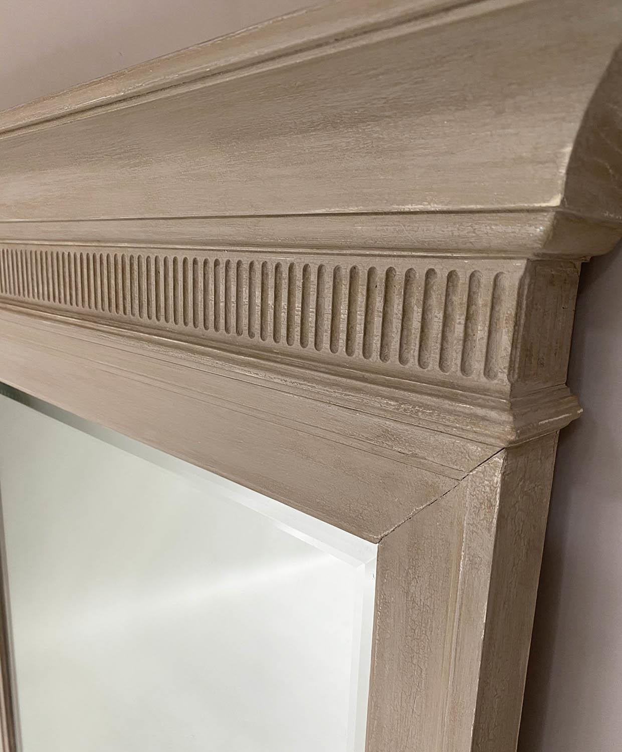 PIER MIRRORS, a pair, Regency style grey painted each with cornice, fluted frieze and bevelled - Image 3 of 6