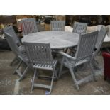 GARDEN DINING SET, distressed grey painted teak table, circular and folding, 74cm H x 150cm with