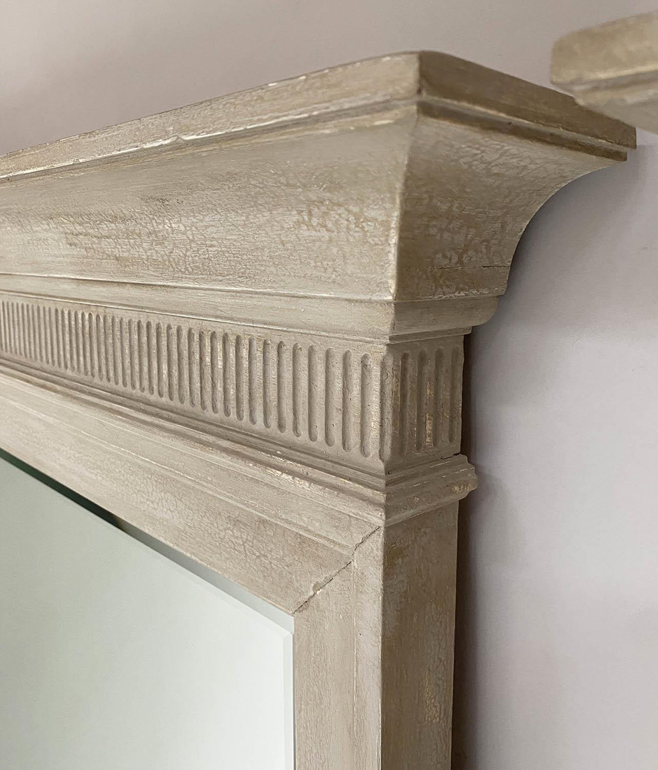 PIER MIRRORS, a pair, Regency style grey painted each with cornice, fluted frieze and bevelled - Image 5 of 6