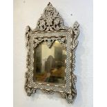 SYRIAN WALL MIRROR, late 19th/early 20th century mother of pearl and bone inlaid, 74cm H x 44cm W.