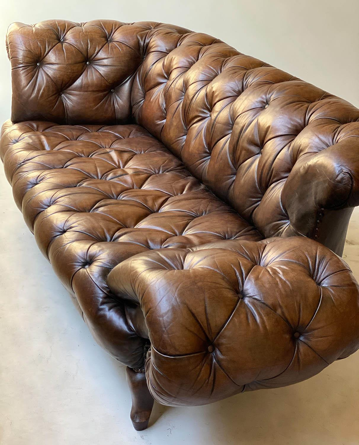 CHESTERFIELD SOFA, early 20th century Edwardian aged and faded brown leather with horsehair buttoned - Image 8 of 10