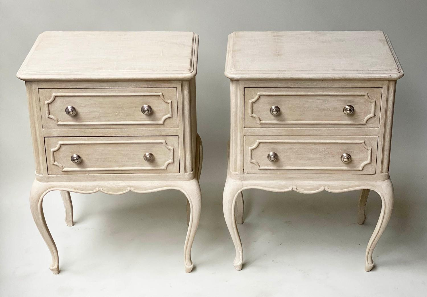 BEDSIDE CHESTS, a pair, French Louis XV design grey painted each with two drawers, 48cm x 36cm x