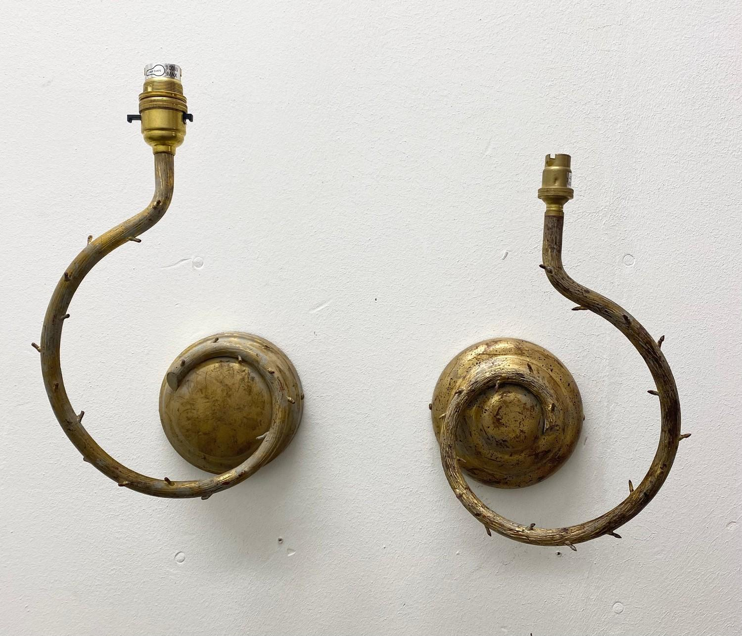 PORTA ROMANA WALL LIGHTS, a near pair, naturalistic branch design in decayed gold, largest 32cm