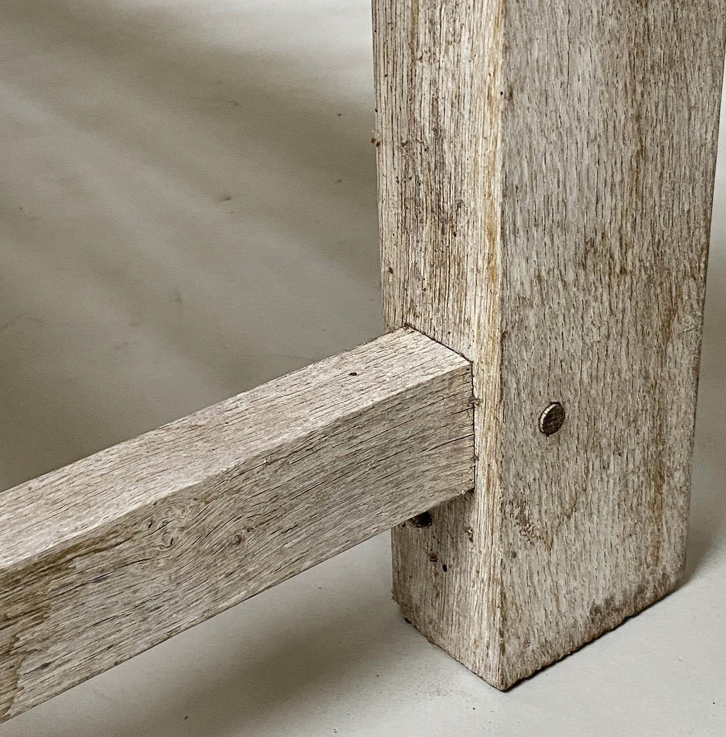 ENGLISH GARDEN BENCH, weathered English oak of substantial and slatted construction, 168cm W. - Image 2 of 8