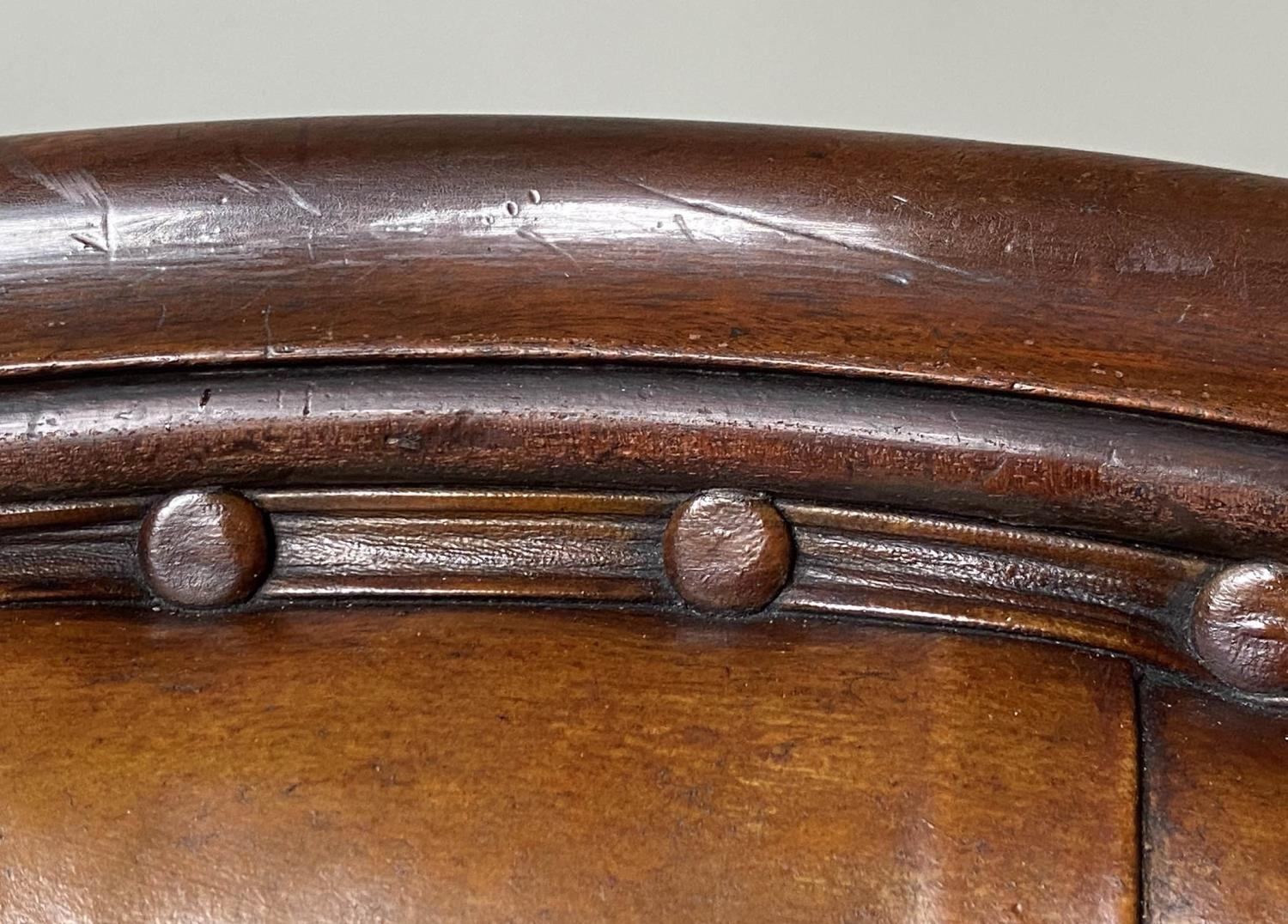 LIBRARY ARMCHAIR, early Victorian mahogany, with hand dyed tobacco brown leather, buttoned back, - Image 5 of 9