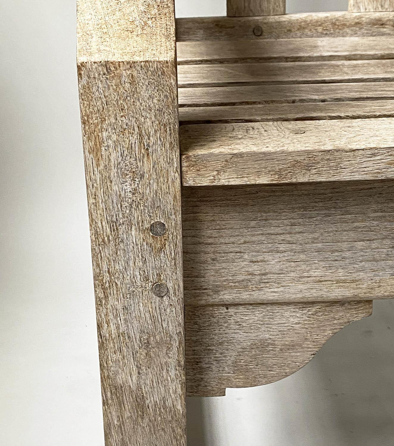 ENGLISH GARDEN BENCH, weathered English oak of substantial and slatted construction, 168cm W. - Image 7 of 8