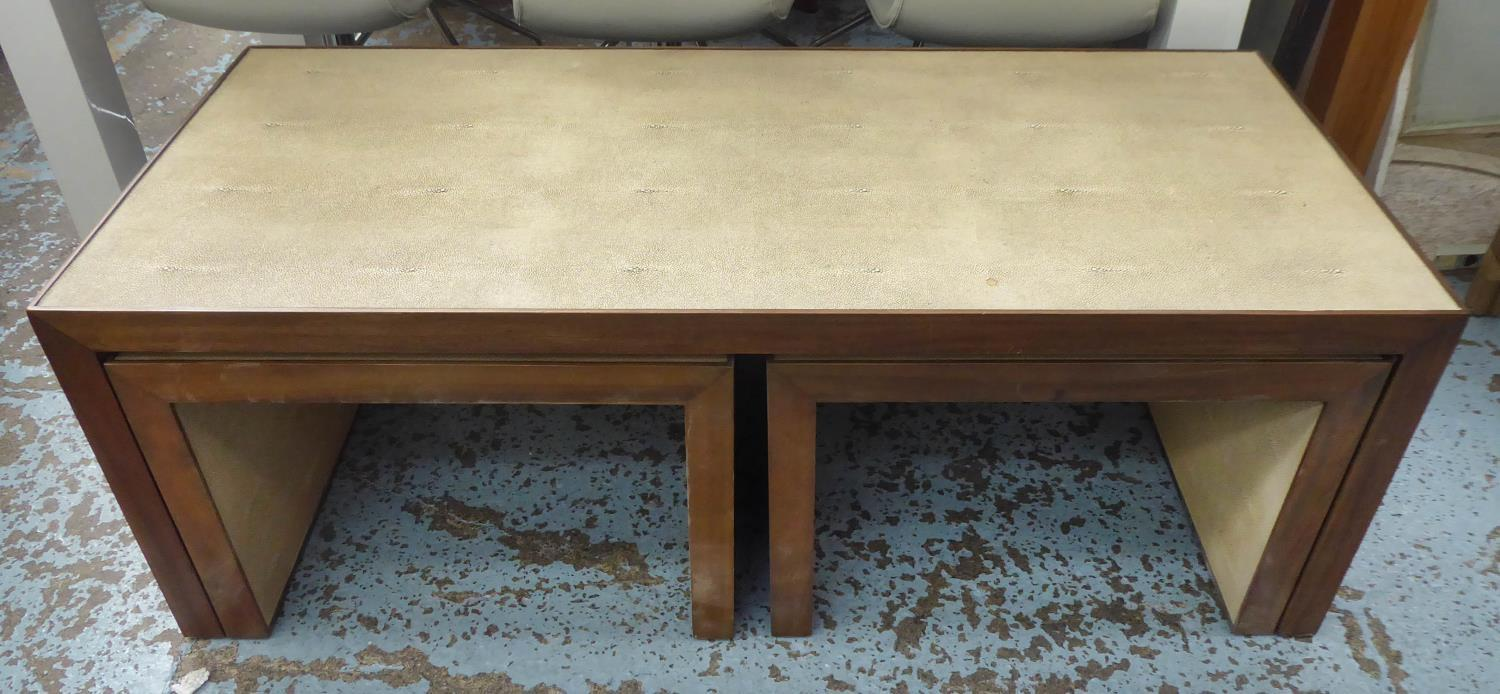 NEST OF TABLES, contemporary, faux shagreen finish, 137.5cm x 67cm x 49cm at largest. - Image 4 of 6