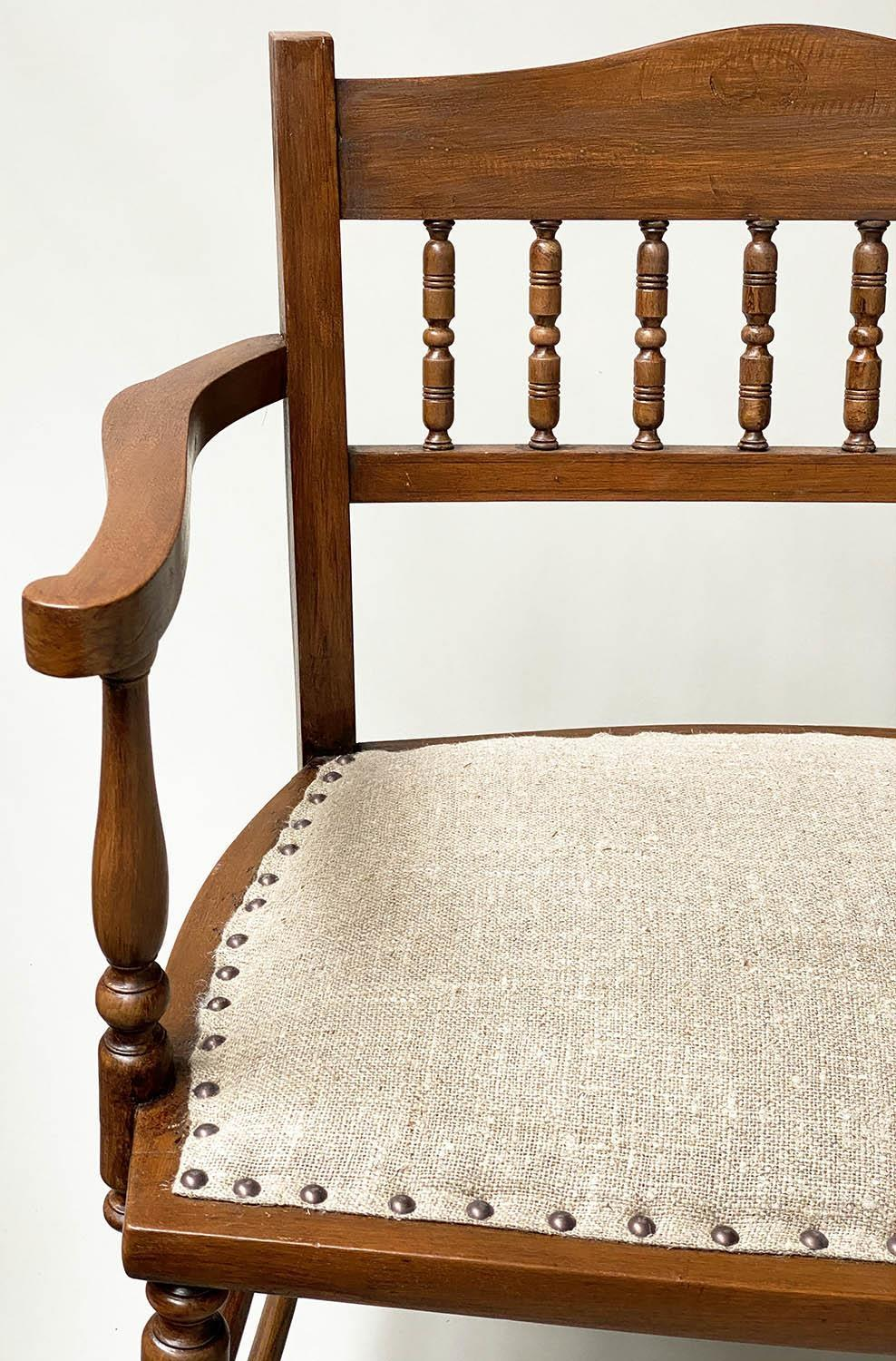 HALL BENCH, early 20th century English studded upholstered seat and turned back and supports, - Image 6 of 6