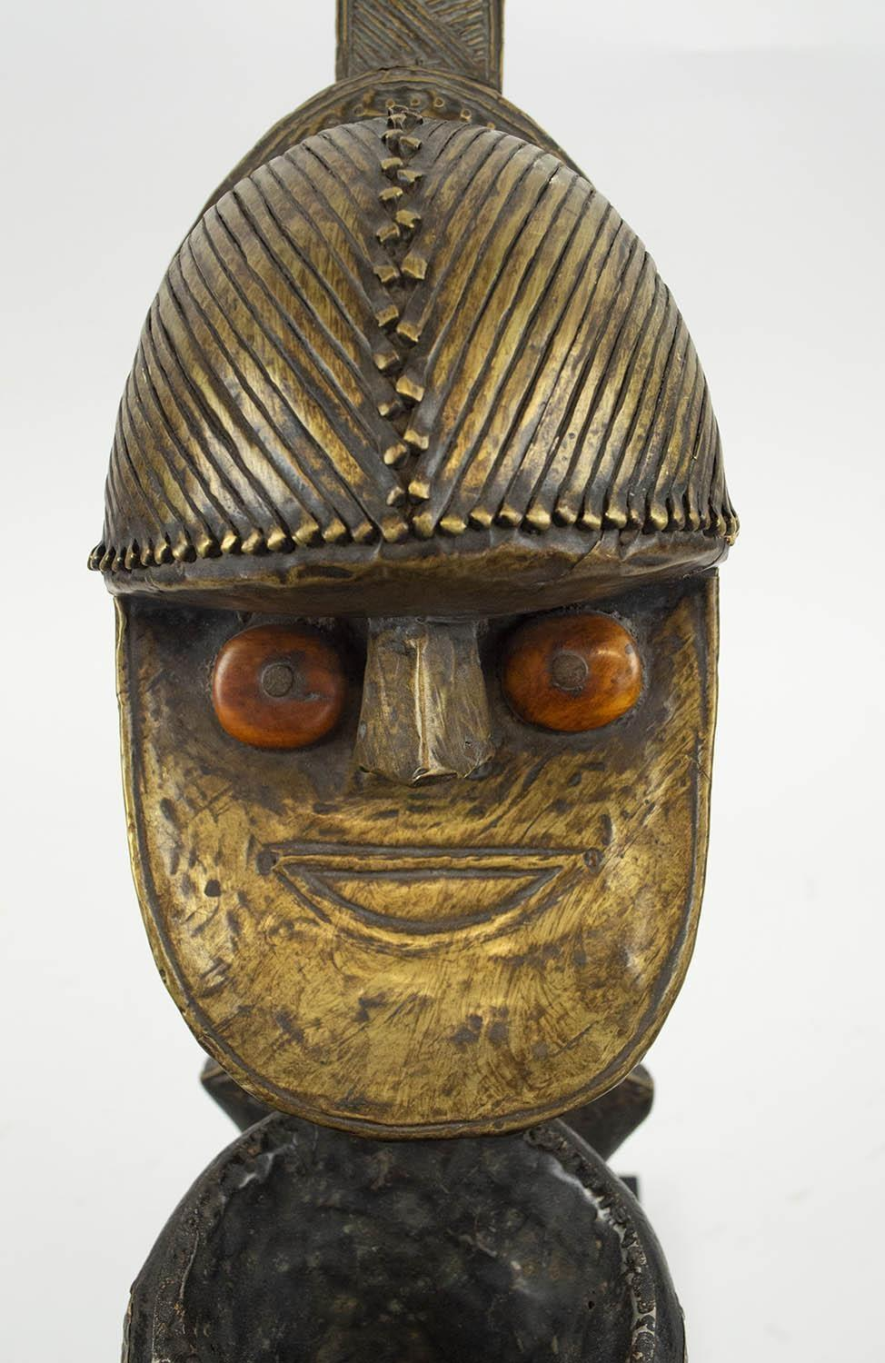 KOBA PEOPLE'S PIPE, from Gabon, copper and carved wood, 55cm H. - Image 3 of 4